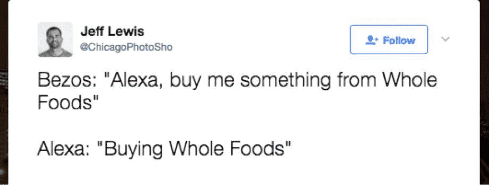 Amazon's Whole Foods: Grocery Chains are F*cked - Tweet about Amazon