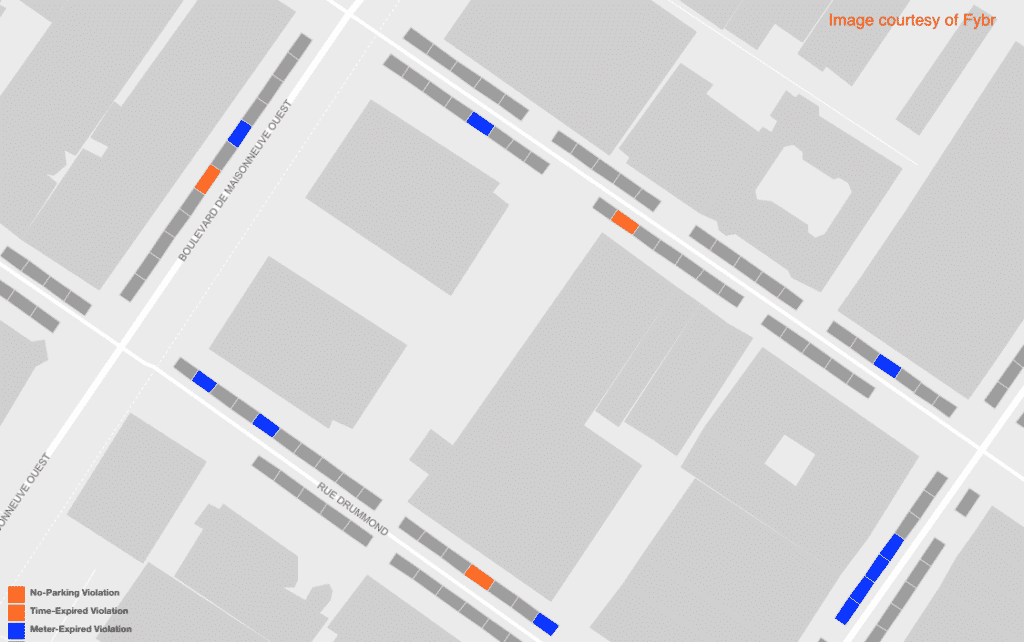 Street map showing violations, smart parking solutions