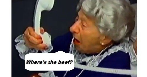 "Elderly woman screaming ""where's the beef?"" into her landline phone"