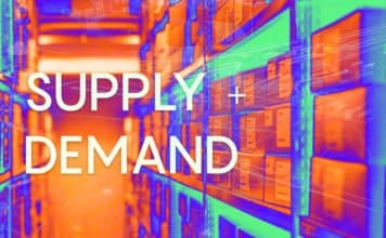 "A photo of inventory shelves with overlaid text of ""Supply and demand"""