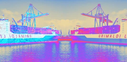 Image of a ship and it's digital twin