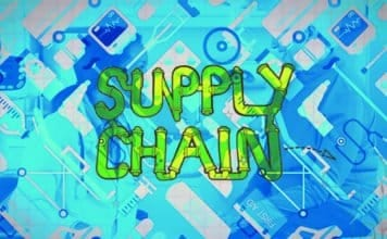 """Supply chain"" written on top of graphics of medical supply chain"