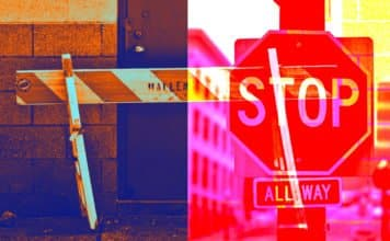 Image of a Sawhorse and a Stop Sign
