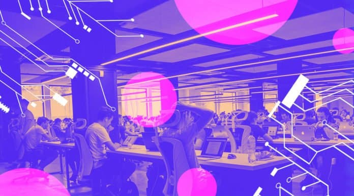 Image of a open workspace at a large company