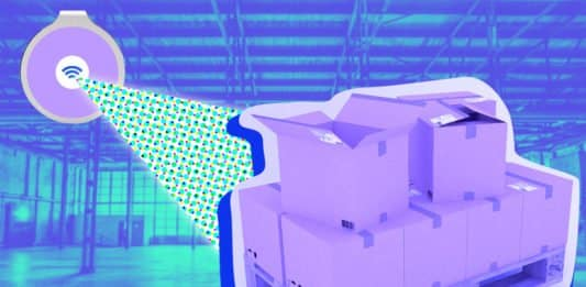 Image of boxes in a warehouse being tracked