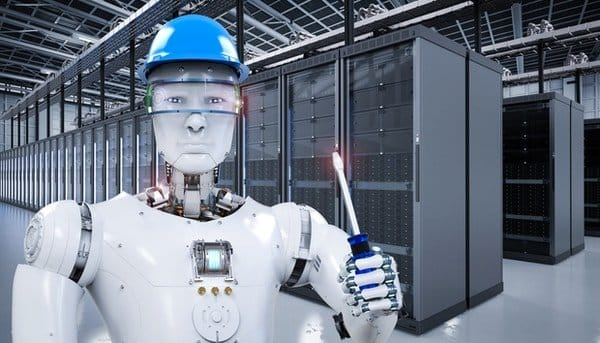 A robot fixing a data center, demonstrating how IoT can reshape the data center industry