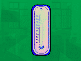 Image of a atmospheric thermometer over an office scene