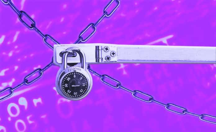 Image of a padlock over chains