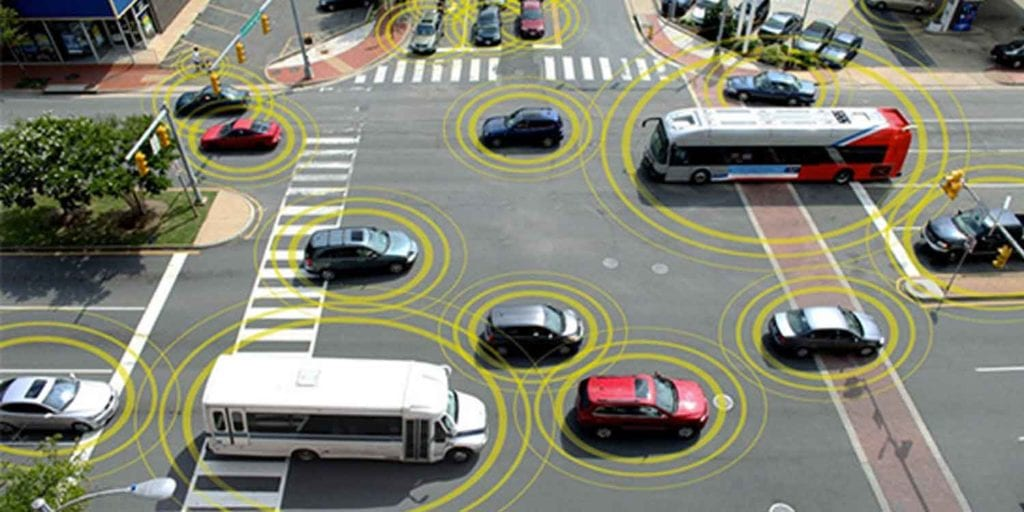 Image of smart sensing cars -- an IoT application in transportation