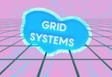 "Image of a grid with a cloud that reads ""Grid Systems"""
