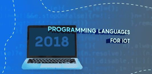 """Image of a computer with the text """"Programming Languages for IoT"""""""