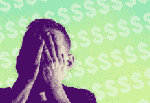 Image of a man looking frustrated in front of dollar signs
