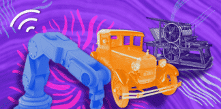 Graphic of the progression of technology in industry (a printing press to a Ford Model T to a Wifi-enabled Robotic Arm)