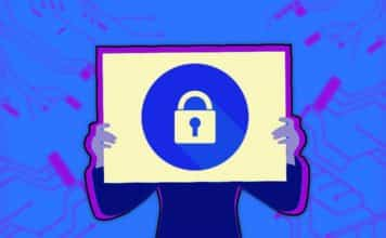Image of a man holding up a sign with a secure lock on it
