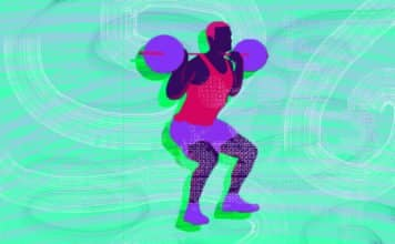 graphic of a man squatting with weights