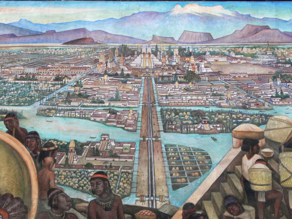 A picture of a drawing of Tenochtitlan