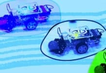 Image of an autonomous robot racing in Google's Cloud Derby