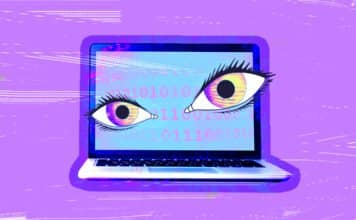 Image of a computer with eyes, indicating that someone is watching the user through the computer
