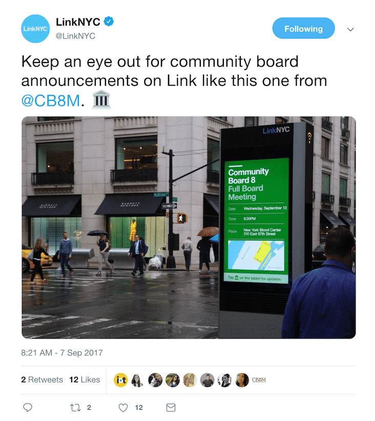 An image of a tweet demonstrating New York City's LinkNYC program and it's implcations for the coming smart city that is NYC.