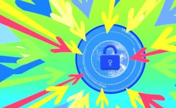 Image of a lock over a graphic of the connected world with a bunch of arrows pointing in and focusing on the lock