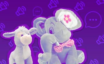 Image of two stuffed animals over a background with speech bubbles and volume icons