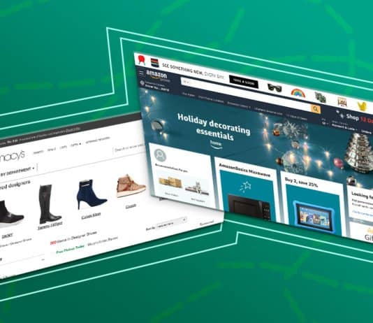 Image of Macy's online and Amazon's webpage