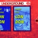 Image of two smart cities posters mocked up in a London Underground station