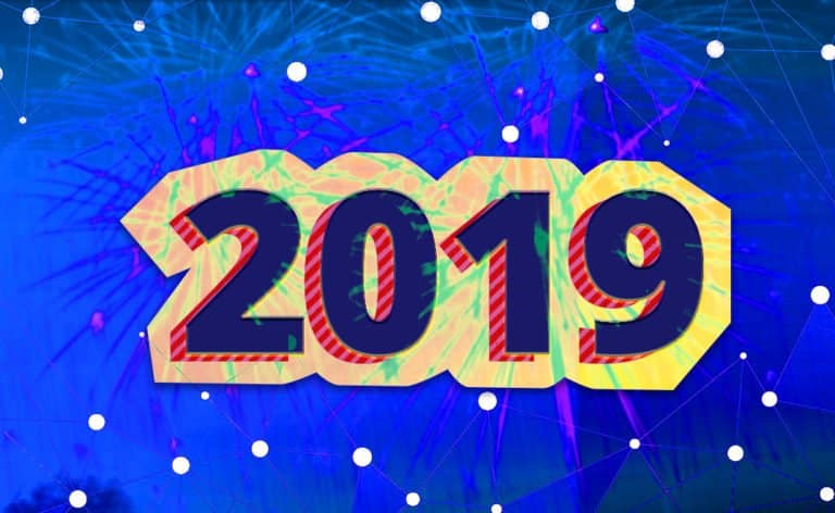 "Image of ""2019"" over fireworks and an illustration of a connected network"