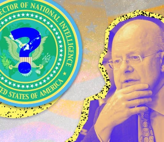 Image of James Clapper, former director of National Intelligence in the United States with the crest of the office