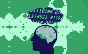 Silhouette of a human with a labyrinth brain thinking about binary code