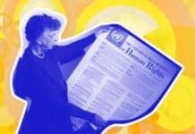Image of Eleanor Roosevelt holding the United Nations' Universal Declaration of Human Rights