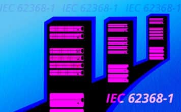 "Image of three server towers with ""IEC 62368-1"" written over it"