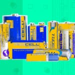 multiple batteries lined up with a patterned background