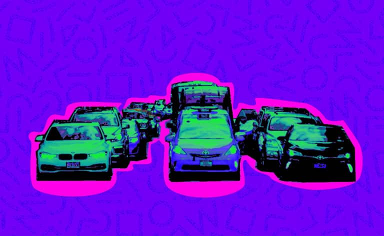 cropped cars in traffic