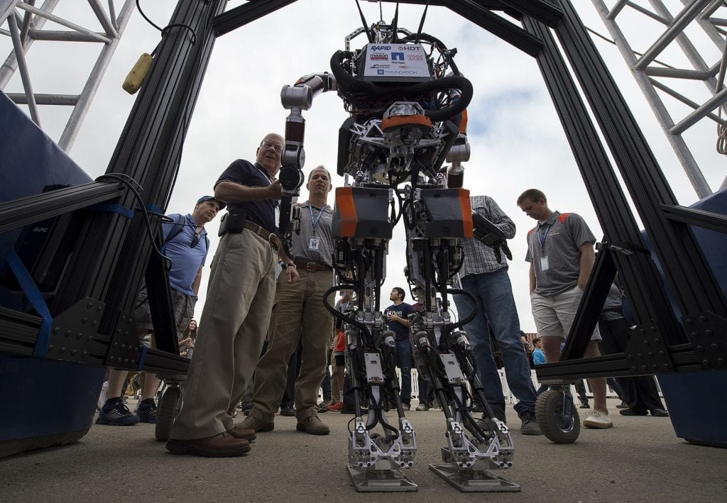 Demonstrating a robot at a DARPA challenge