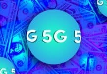 "Image of a sphere that says ""5G"" overlaid over American dollars"