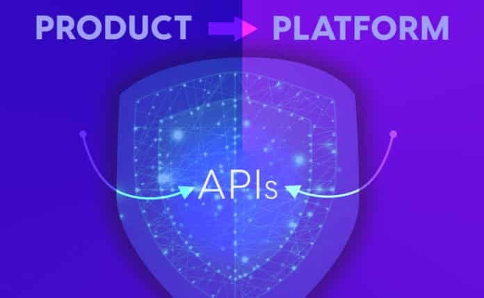 Aesthetic graphic that shows a product becoming a platform through APIs