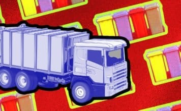 Image of a garbage truck and trash bins