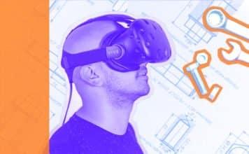 Man wearing augmented reality headset