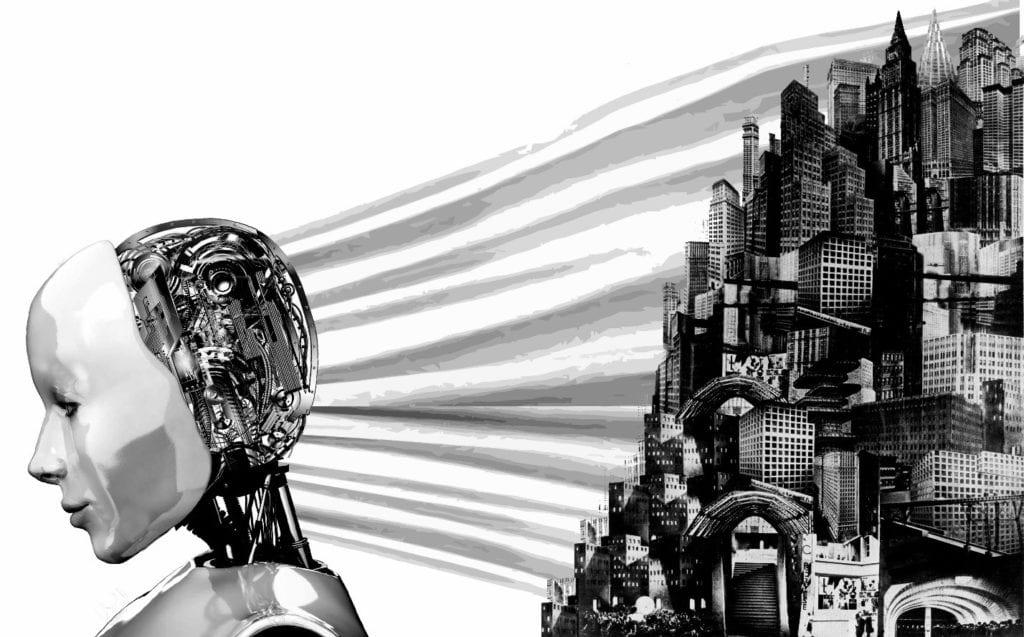 A robot imagining a city.