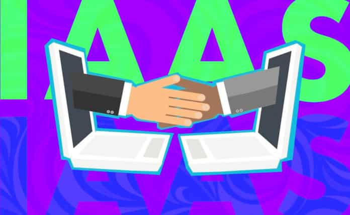 cartoon hands shaking through opposing monitor screens
