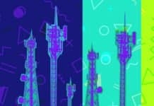 cell towers on a colorful background