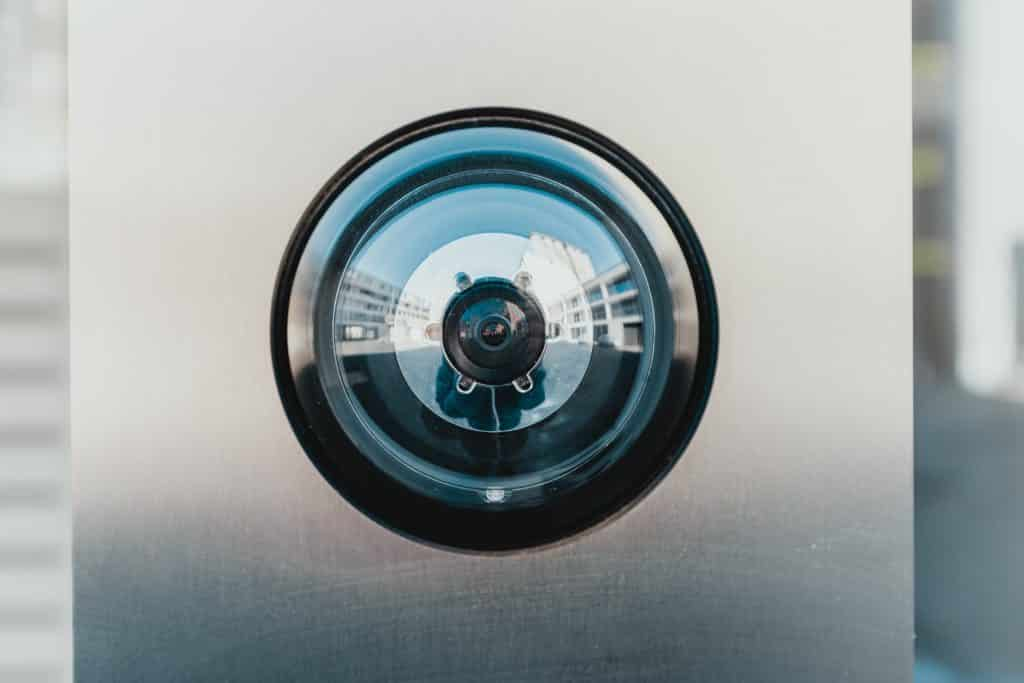 Up-close image of a security camera.