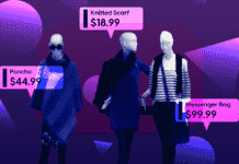 Image of mannequins at a clothing store with a mockup of how augmented reality could show shoppers the cost of items easier