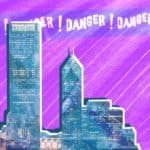 "City skyline and the words ""Danger! Danger! Danger!"""