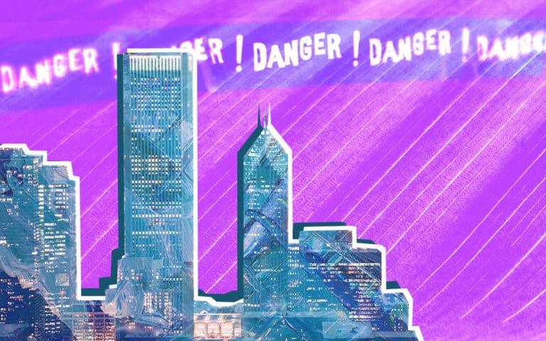 """City skyline and the words """"Danger! Danger! Danger!"""""""