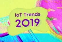 "Image of a computer chip and a donut floaty for a pool with the words ""IoT Trends 2019"""