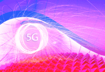 "The text ""5G"" on an abstract background"