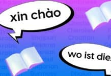 "Image of two speech bubbles: one that says ""xin chào,"" or ""hello"" in vietnamese and ""wo ist die...,"" which is ""where is the..."" in German"