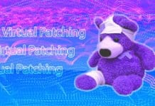 "A stuffed animal bear with bandaids and the text ""Virtual Patching"" in the background"